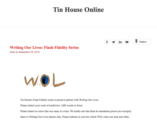 Writing Our Lives Flash Fidelity Series
